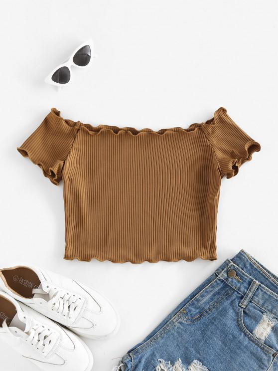 outfit ZAFUL Off Shoulder Lettuce Trim Crop Tee - DEEP COFFEE S