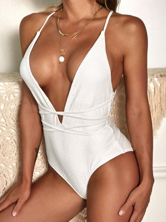 women ZAFUL Tie-around Criss Cross Eyelet One-piece Swimsuit - WHITE S