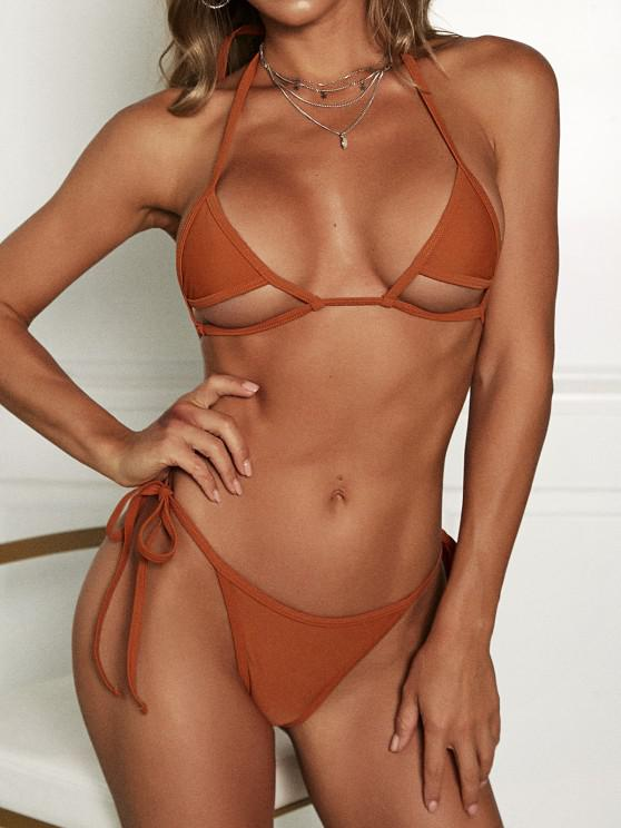 ladies ZAFUL Underboob Cutout Tie Side Halter String Bikini Swimwear - COFFEE S