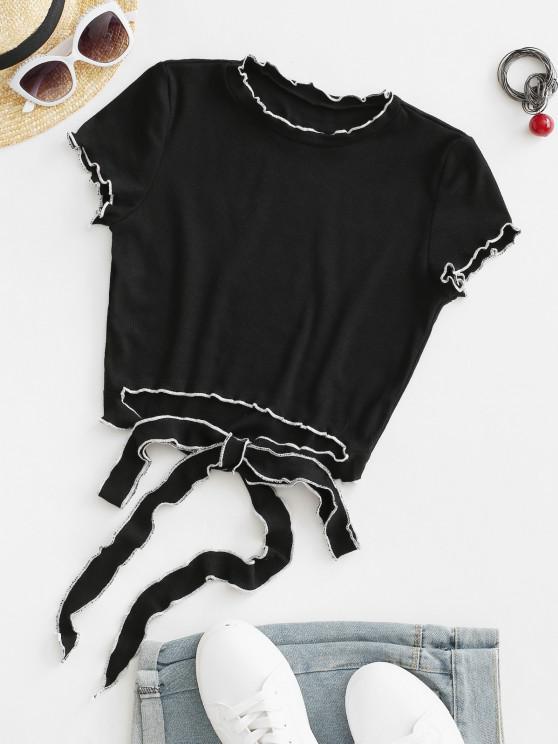 new Ribbed Lettuce Topstitch Cutout Tie Crop Tee - BLACK M