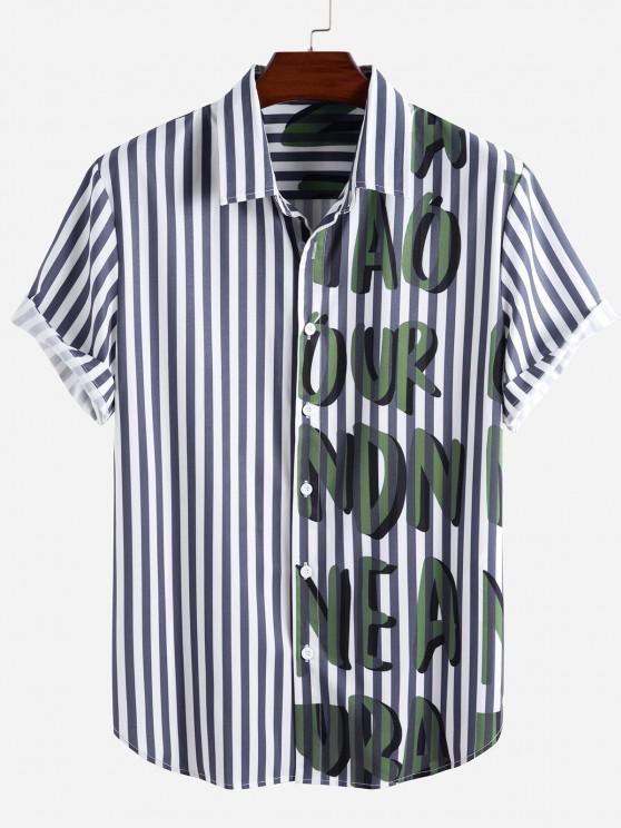 fancy Striped Letter Pattern Short Sleeve Shirt - BLUE M