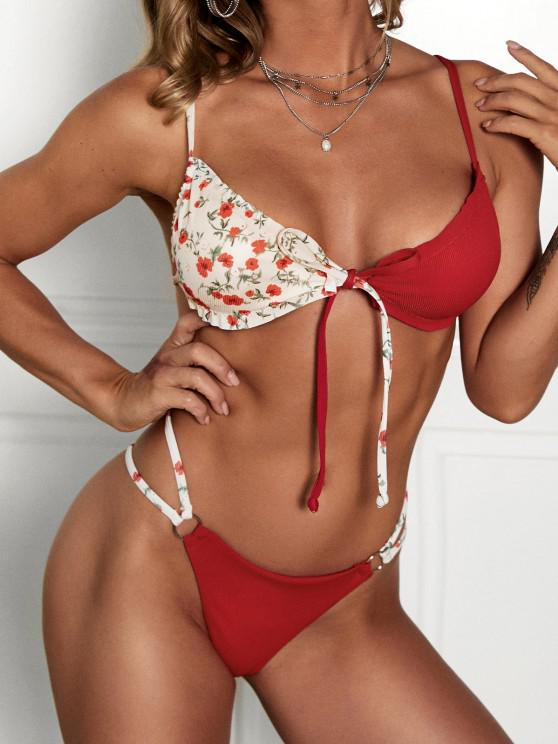ZAFUL Ribbed Floral Ruffled O Ring String Bikini Swimwear - أحمر L