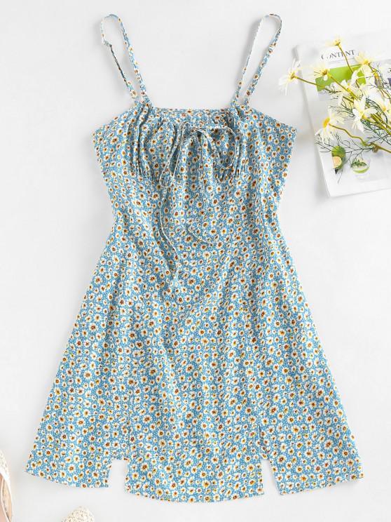 fancy ZAFUL Ditsy Print M Slit Bowknot Mini Dress - LIGHT BLUE XL