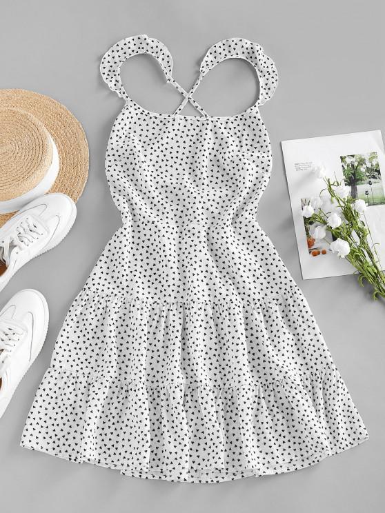 new ZAFUL Heart Print Ruffle Lace Up Tiered Dress - WHITE M
