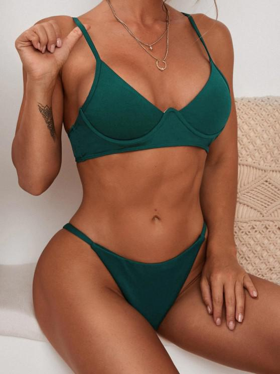 womens ZAFUL Textured Monowire Tanga Bikini Swimwear - DEEP GREEN S