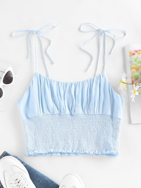 outfit ZAFUL Smocked Ruffle Tie Shoulder Camisole - LIGHT BLUE S