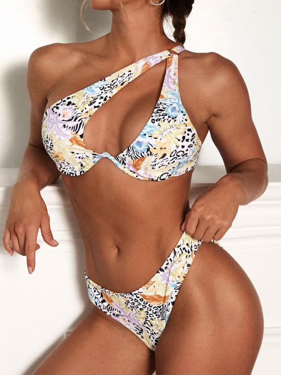 sale ZAFUL Leopard Underwire Cutout One Shoulder Bikini Swimwear - BLACK S