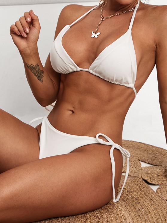 ZAFUL Tie Side  Cheeky String Bikini Swimwear - أبيض S
