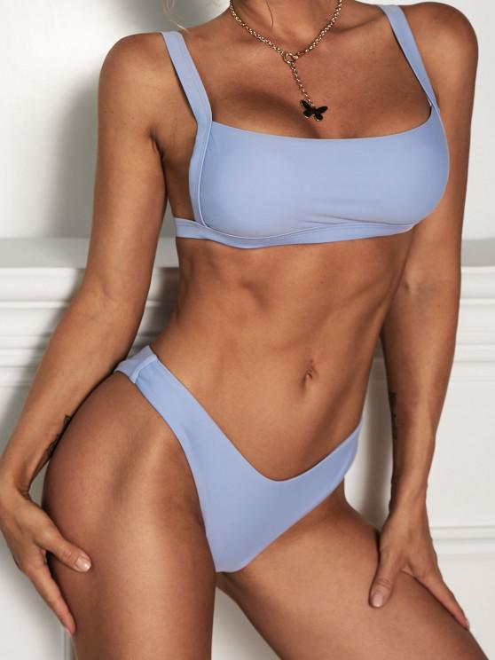 ZAFUL Square Cheeky High Cut Bikini Swimwear - أزرق فاتح S