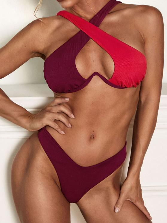 ZAFUL Ribbed Two Tone Underwire Cross Bikini Swimwear - أحمر عميق S