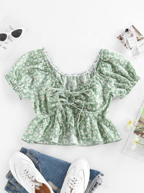 shop ZAFUL Floral Ruffle Tie Front Peplum Blouse - LIGHT GREEN S