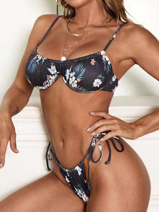 ZAFUL Ribbed Flower Underwire Tie Side Bikini Swimwear - أسود S