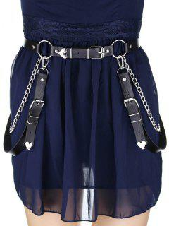 Decorative Chain PU Gothic Waist Belt - Black