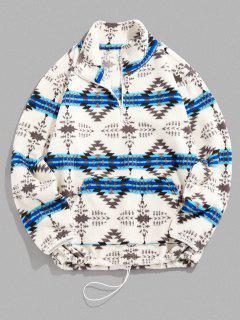 ZAFUL Tribal Pattern Quarter Zip Fuzzy Jacket - Light Blue L