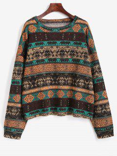Tribal Ethnic Knit Fleece Lined Sweater - Coffee S