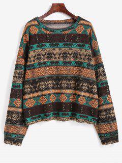 Tribal Ethnic Knit Fleece Lined Sweater - Coffee L