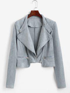 Faux Suede Zipper Turndown Collar Jacket - Light Blue S