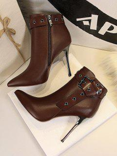 Retro Stiletto Heel Pointed Toe Eyelet Buckle Boots - Coffee Eu 38