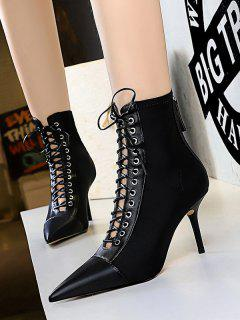Lace Up High Heel Ankle Boots - Black Eu 40