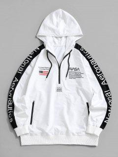 National Aeronautics American Flag Colorblock Halb-Zip-Hoodie - Weiß S