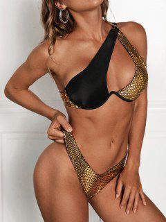 ZAFUL Metallic Animal One Shoulder Thong Bikini Swimwear - Golden M