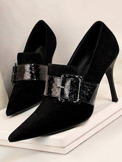 Suede Snake Print Buckle Stiletto Heel Shoes - Black Eu 39