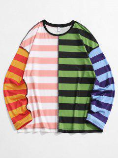Colorblock Striped Stitching T-shirt - Multi L