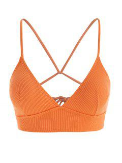 Plus Size Ribbed Back Tie Plunge Bikini Top - Dark Orange Xxl