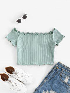ZAFUL Off Shoulder Lettuce Trim Crop Tee - Light Green S