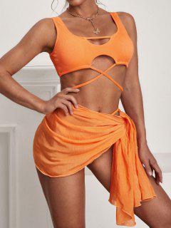 ZAFUL Ribbed Wrap-tie Three Piece Swimsuit With Sarong - Dark Orange L
