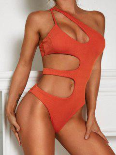 ZAFUL One Shoulder Cut Out Ribbed One-piece Swimsuit - Orange M