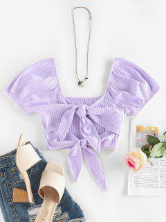 ZAFUL Ribbed Front Tie Puff Sleeve Cropped Tee - Light Purple M