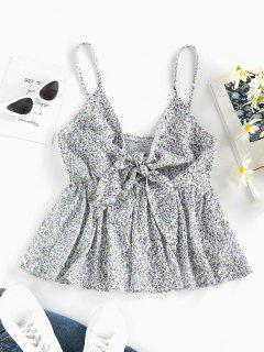 ZAFUL Smocked Ditsy Print Tied Peplum Camisole - White S