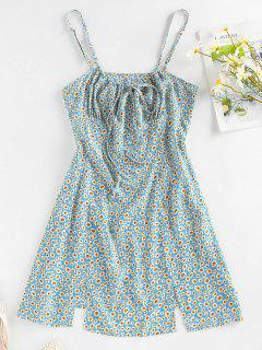 ZAFUL Ditsy Print M Slit Bowknot Mini Dress - Light Blue M