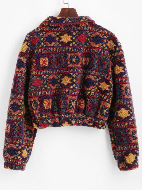 Christmas Snowflake Tribal Half Zip Teddy Sweatshirt - متعدد M Mobile