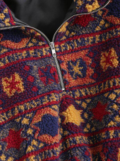 affordable Christmas Snowflake Tribal Half Zip Teddy Sweatshirt - MULTI M Mobile