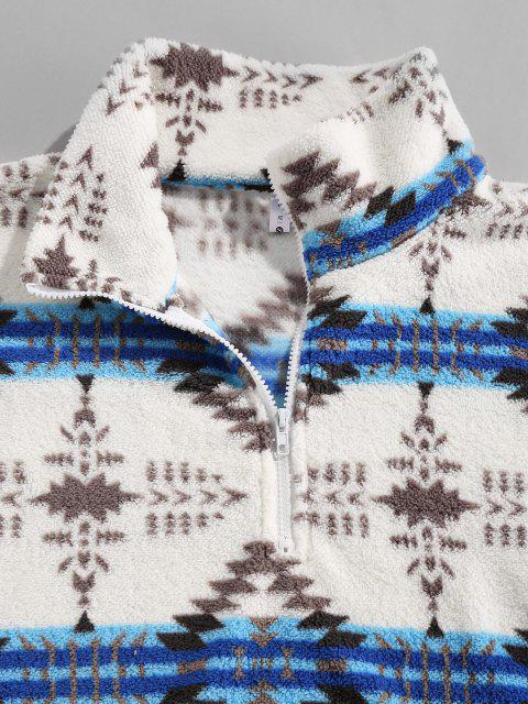 shop ZAFUL Tribal Pattern Quarter Zip Fuzzy Jacket - LIGHT BLUE XL Mobile