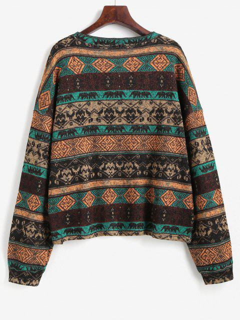 new Tribal Ethnic Knit Fleece Lined Sweater - COFFEE S Mobile