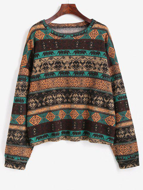 hot Tribal Ethnic Knit Fleece Lined Sweater - COFFEE M Mobile