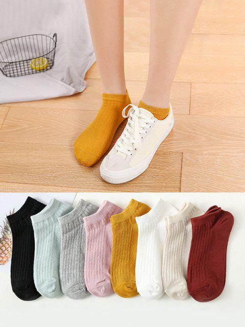 shops 8 Pairs Ribbed Solid Ankle Socks Set - MULTI  Mobile