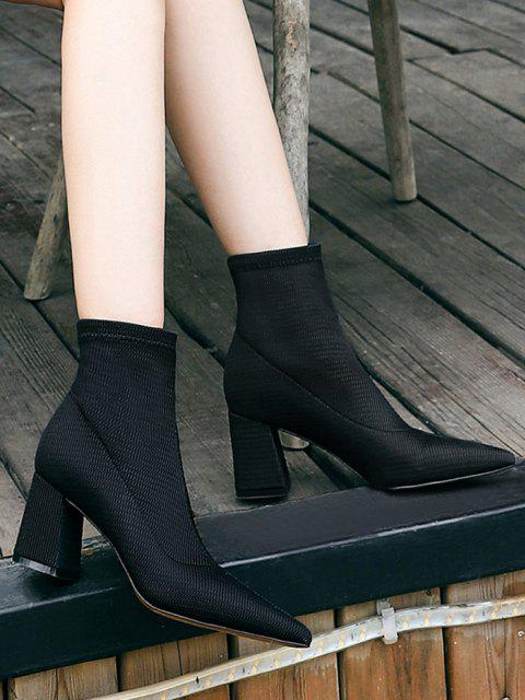 sale Pointed Toe Chunky Heel Yarn Boots - BLACK EU 37 Mobile