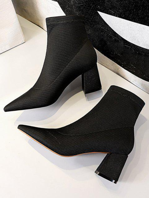 Pointed Toe Chunky Heel Yarn Boots - أسود الاتحاد الأوروبي 40 Mobile
