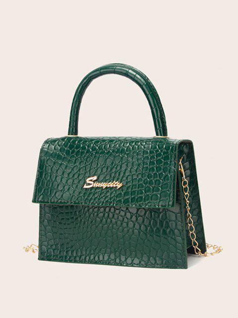 best Letter Pattern Cover Chain Handbag - PINE GREEN  Mobile
