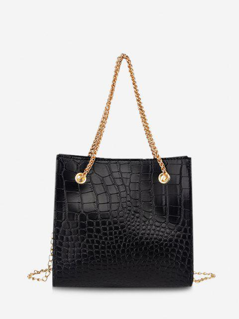 shops Square Stone Grain Chain Shoulder Bag - BLACK  Mobile