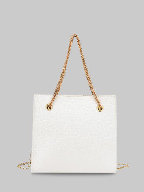 latest Square Stone Grain Chain Shoulder Bag - WHITE  Mobile
