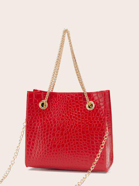 trendy Square Stone Grain Chain Shoulder Bag - RED  Mobile