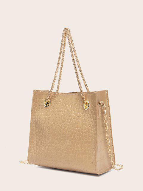 fashion Square Stone Grain Chain Shoulder Bag - BLANCHED ALMOND  Mobile