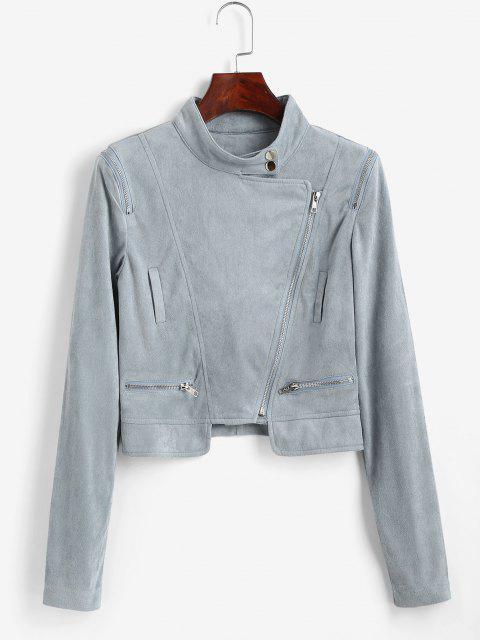 Künstliche Wildleder Reißverschluss Umlegekragen Jacke - Hellblau M Mobile