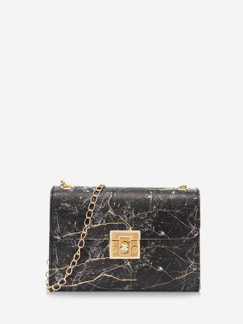 women Marbling Pattern Chain Crossbody Bag - BLACK  Mobile