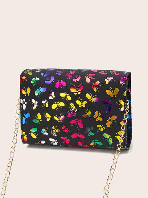 lady Butterfly Pattern Flap Chain Crossbody Bag - BLACK  Mobile